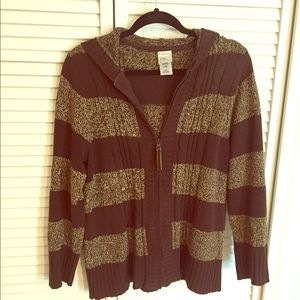 Just My Size Brown Striped Zip Front Hood Sweater